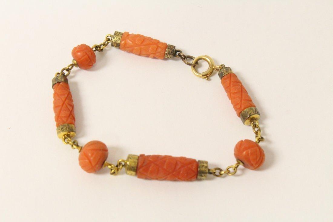 Victorian gold coral bracelet