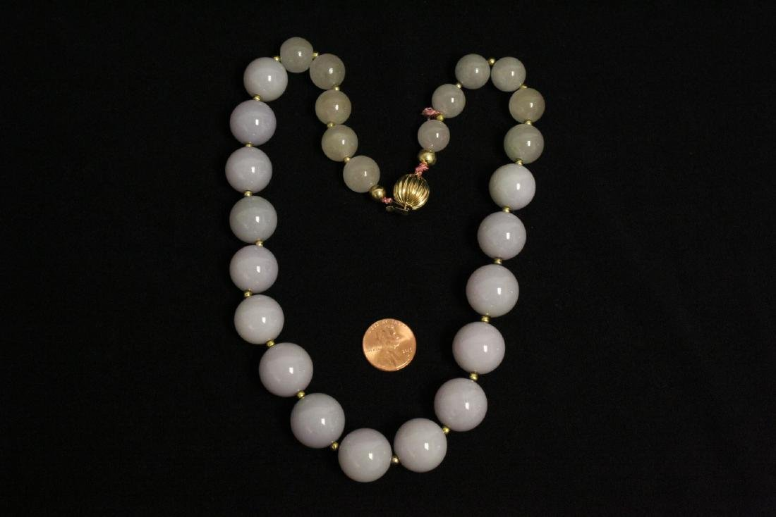 A beautiful lavender jadeite bead necklace