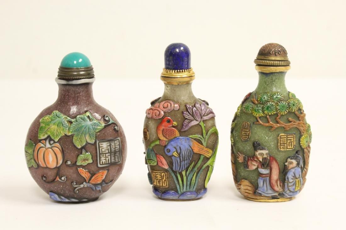 3 Chinese overlay Peking glass snuff bottles
