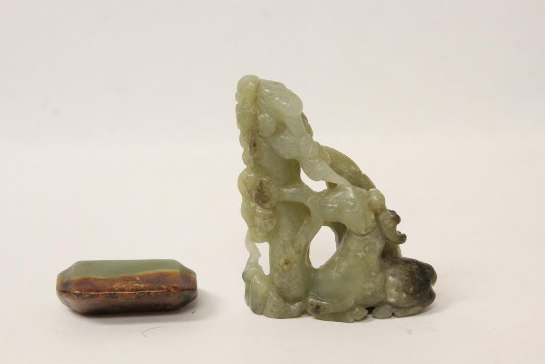Chinese vintage jade carving and a jade pendant