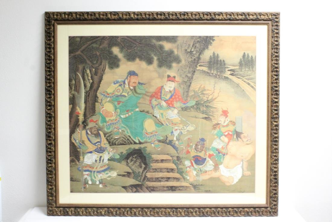 A large Chinese framed watercolor