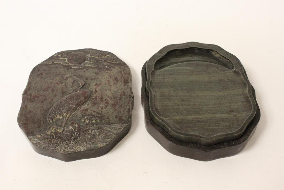 Chinese ink stone with stone carved fitted box