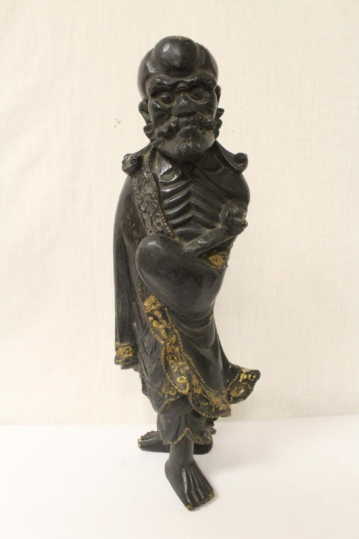 Antique Chinese wood carved Lohan on stand