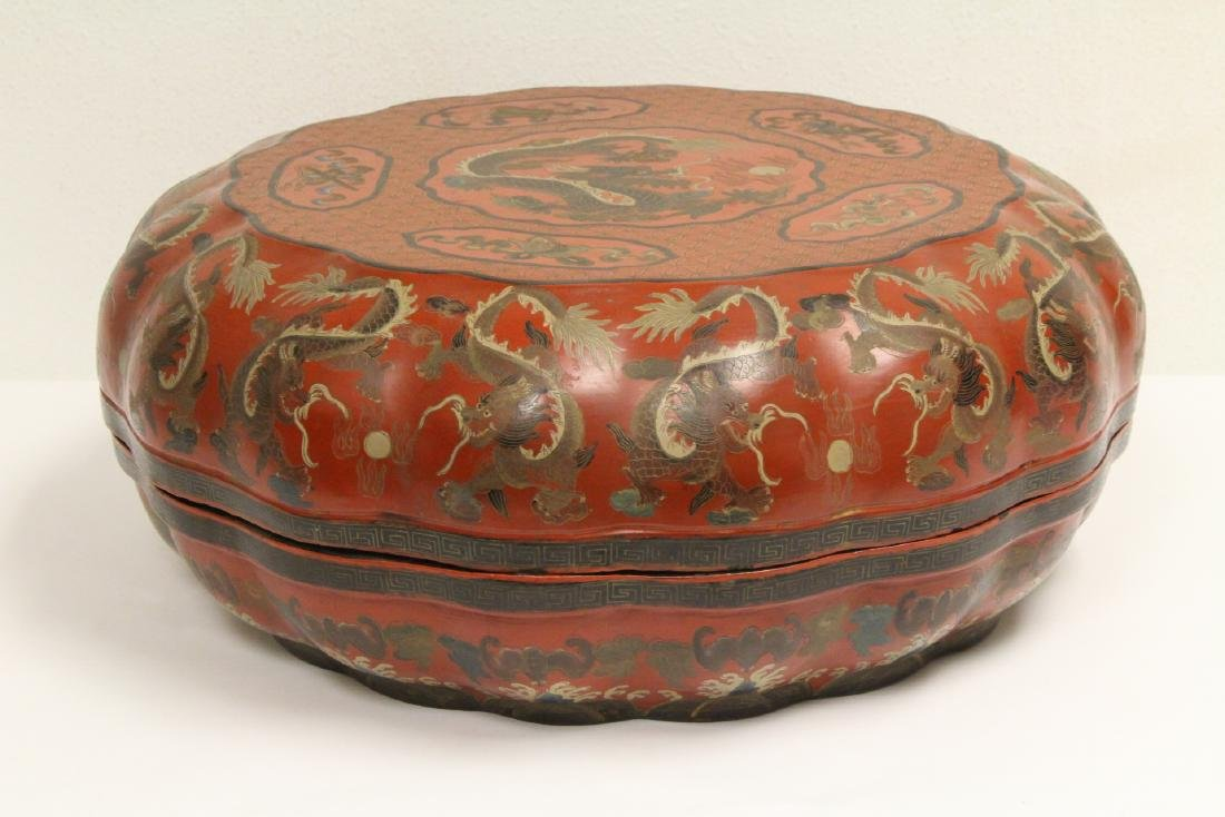 Chinese vintage large lacquer carved box