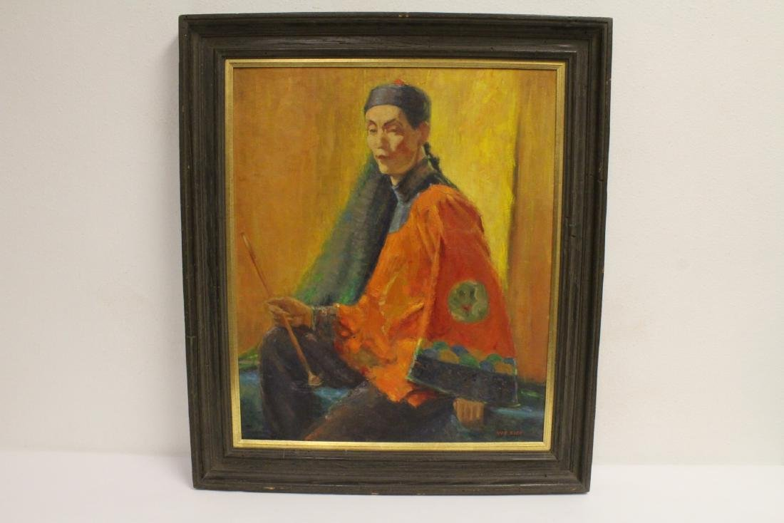 Oil on canvas depicting the portrait of Asian man