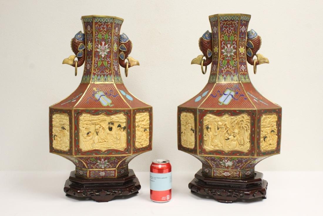 Pair Chinese vintage cloisonne octagonal vases
