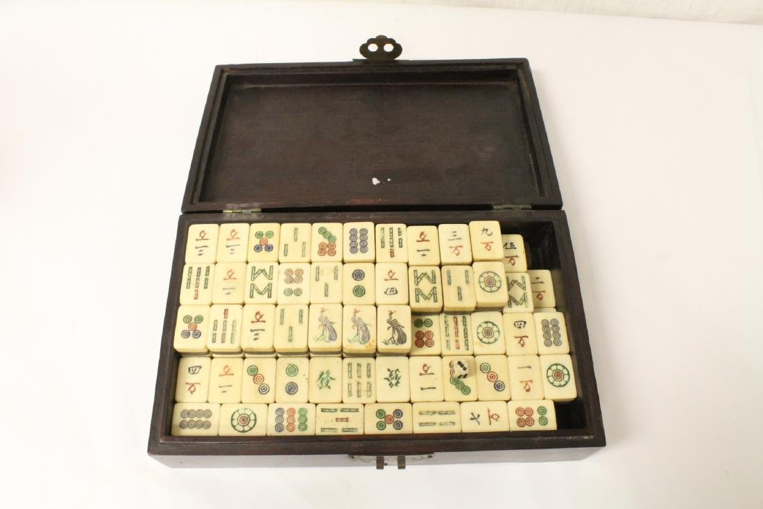 Chinese mahjong set in inlaid rosewood box