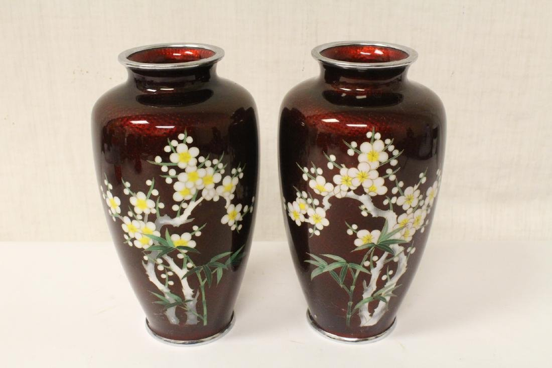 Pair Japanese early 20th c. cloisonne vases