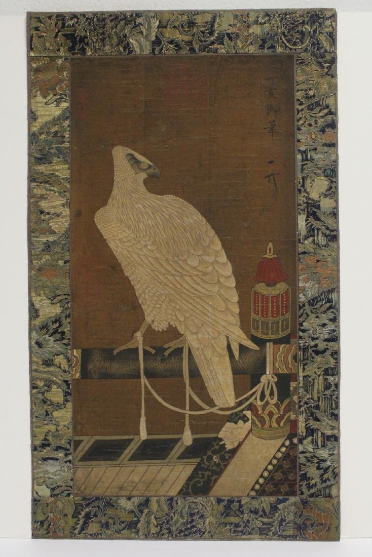 Chinese watercolor on silk panel depicting eagle