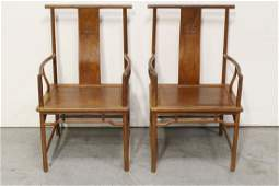 Pair Chinese huanghuali wood armchairs
