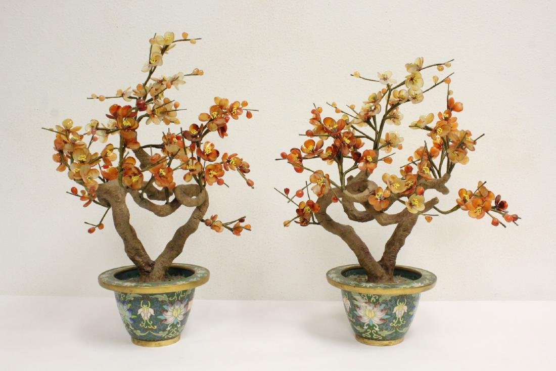 Pr Chinese jade like tree w/ cloisonne planters