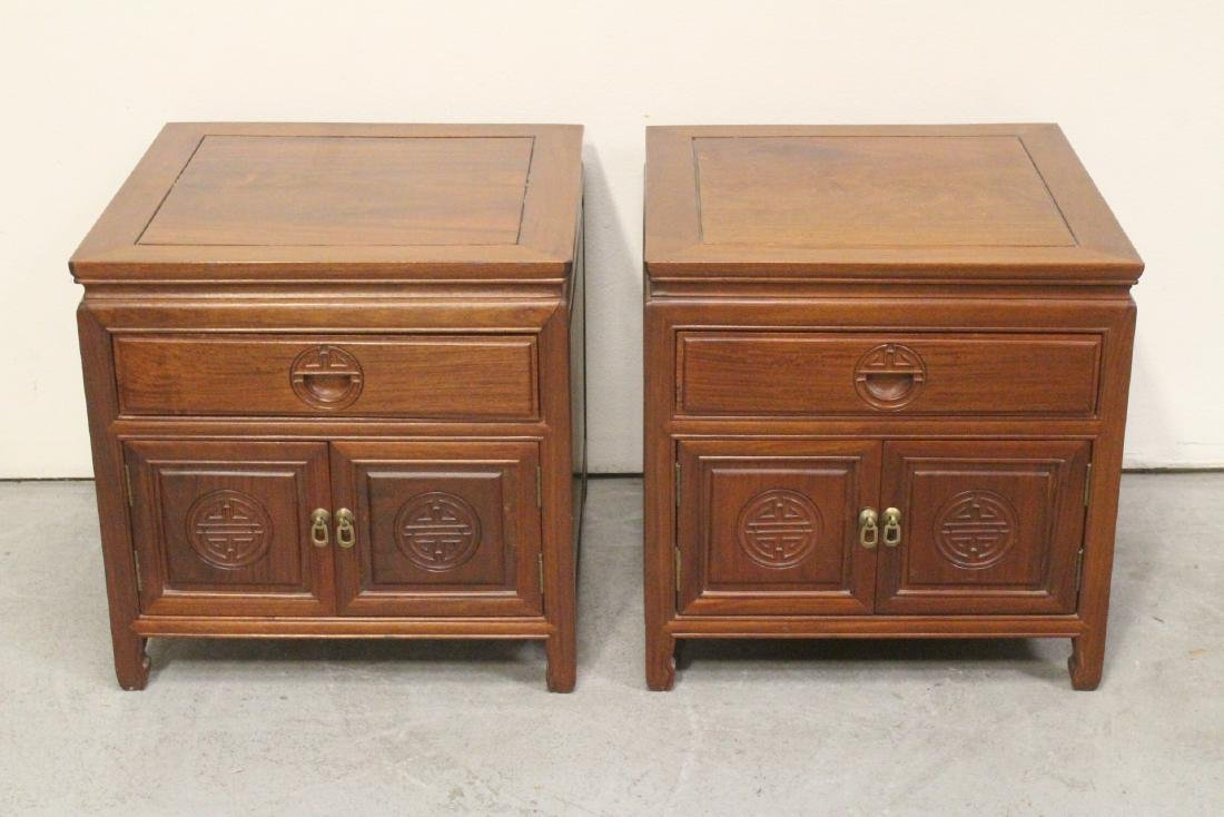 Pair Chinese rosewood square table/cabinet
