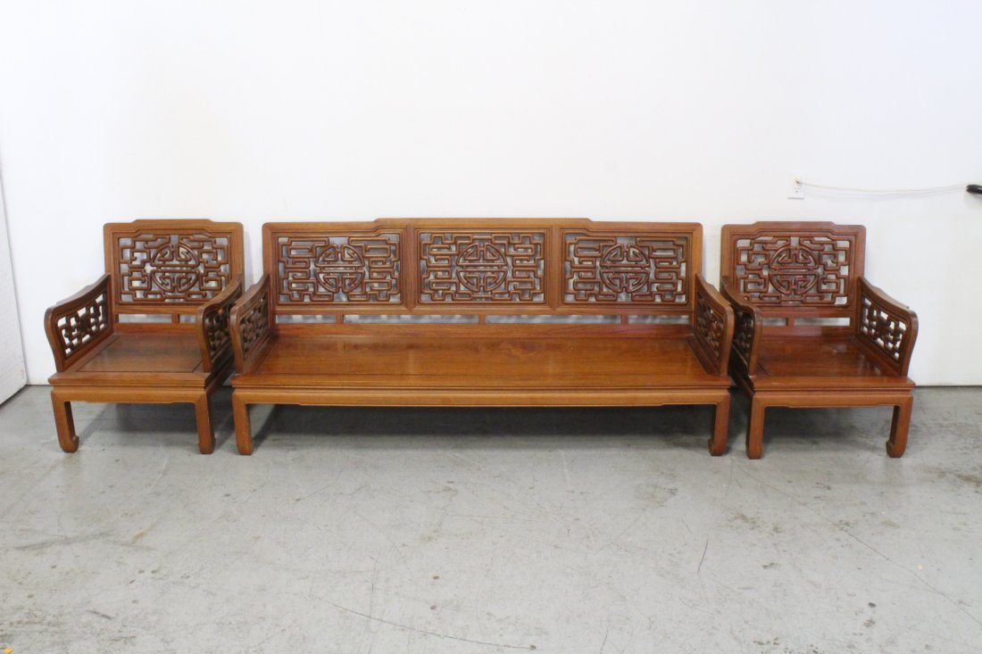 3 piece Chinese rosewood living room set