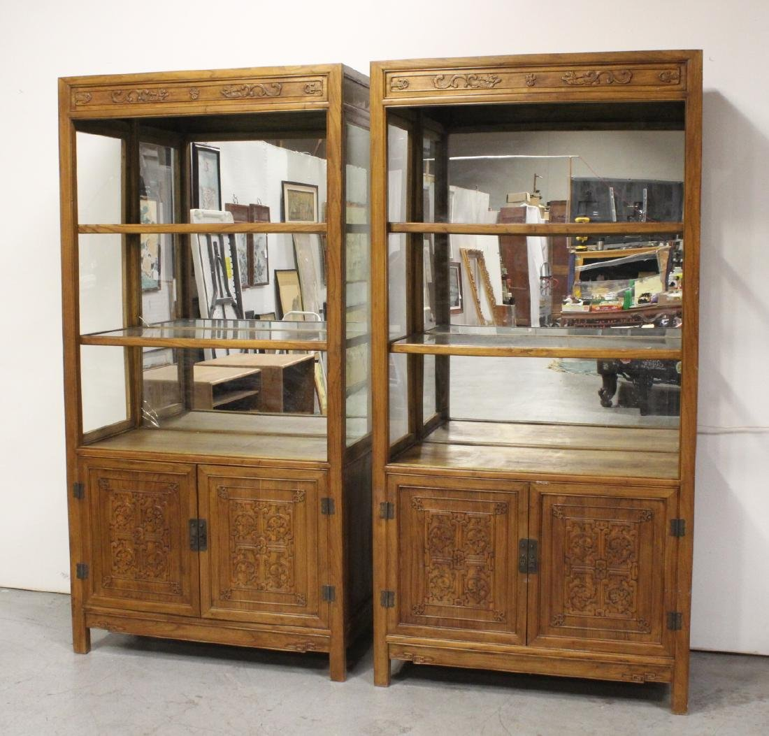 Pair Chinese hard wood display cases
