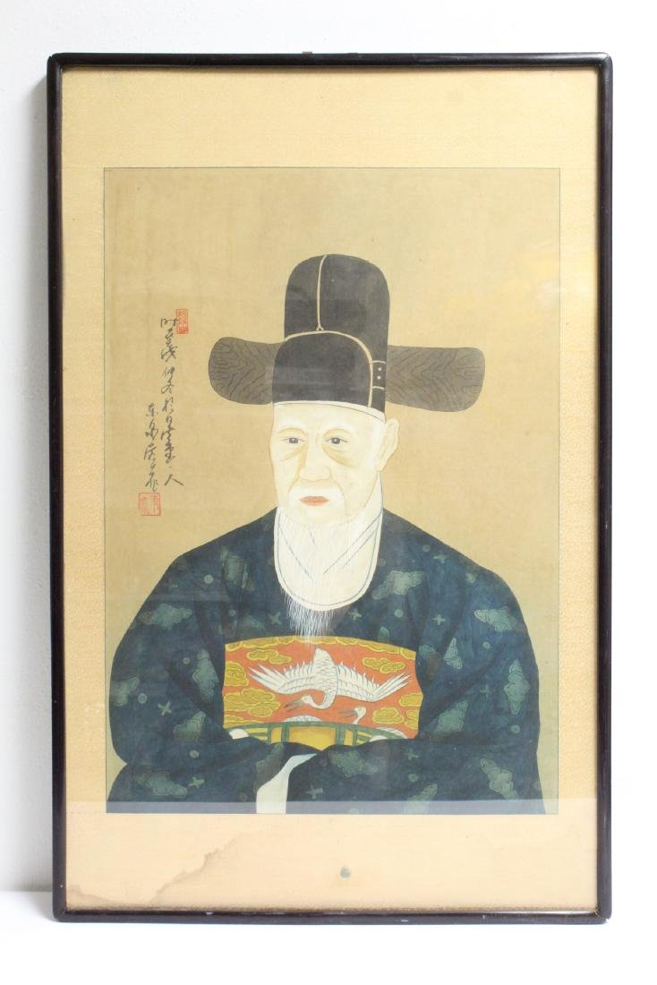 Korean framed watercolor, signed Gang Se-Huang
