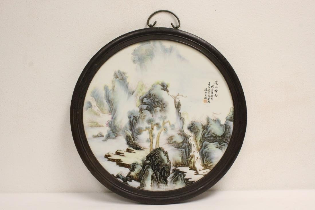 Chinese framed round porcelain plaque