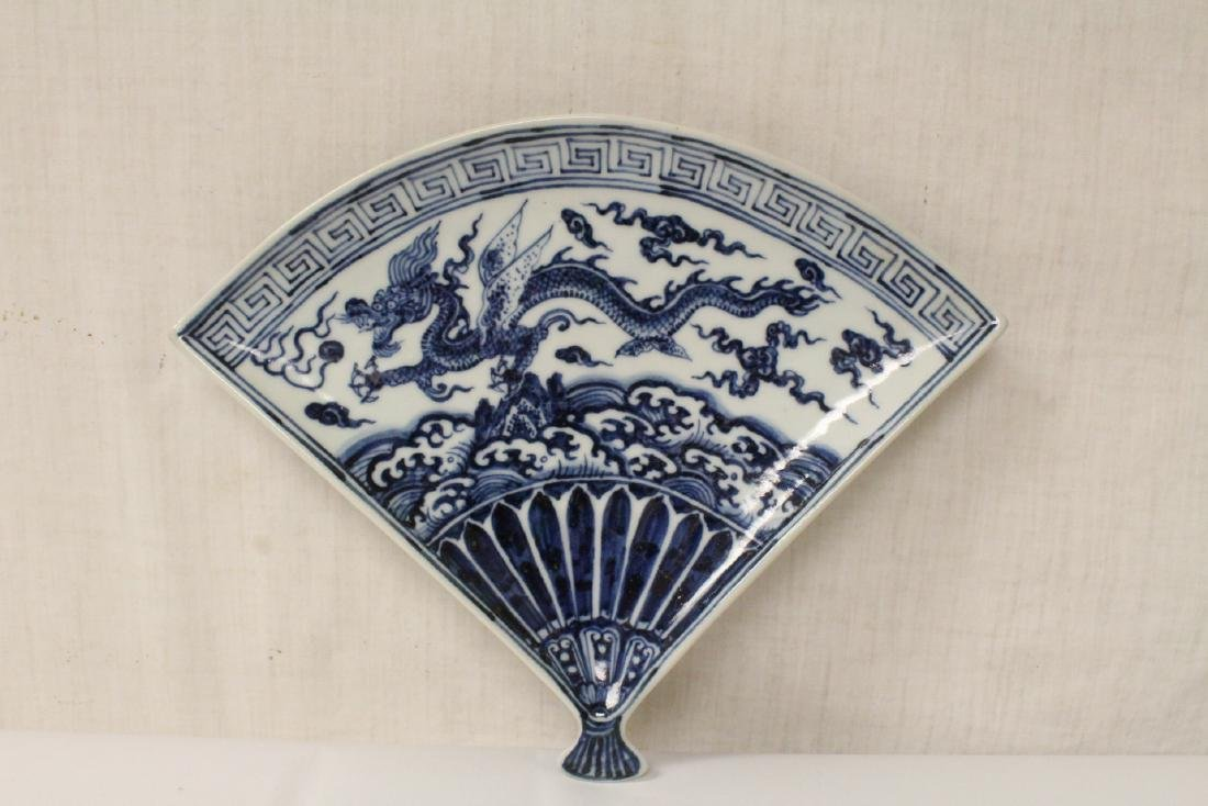 Chinese blue and white fan shape porcelain plate