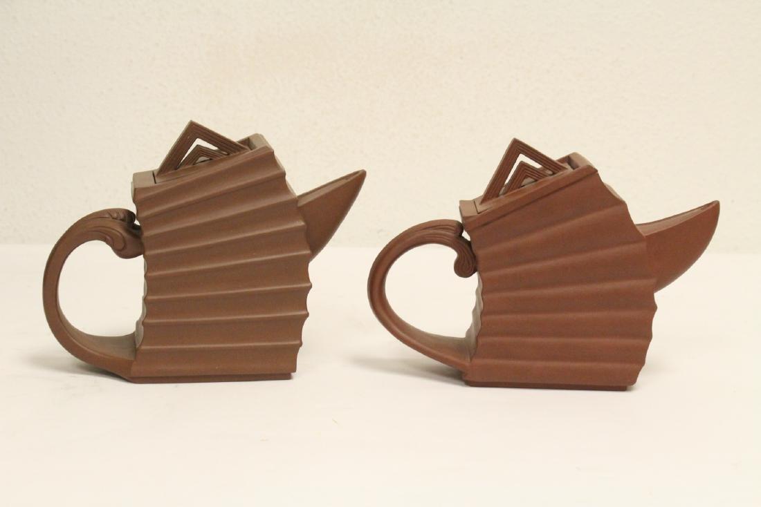 2 very interesting modern design Yixing teapots