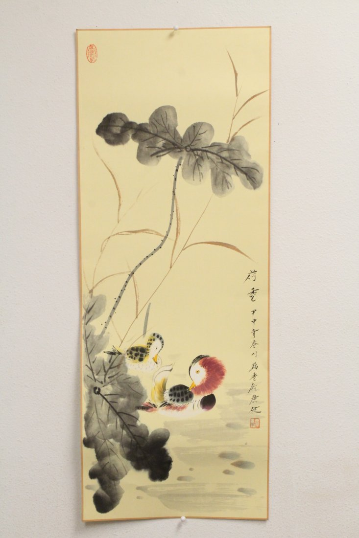 Chinese watercolor panel; birds and flowers