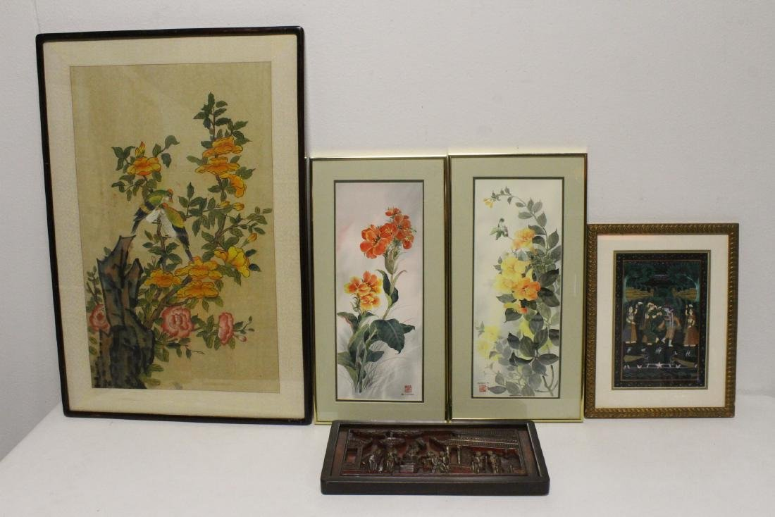 4 watercolor & an antique Chinese lacquer panel