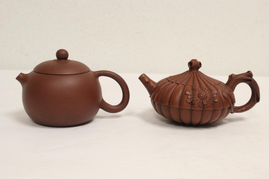 2 Yixing teapots; one cover repair