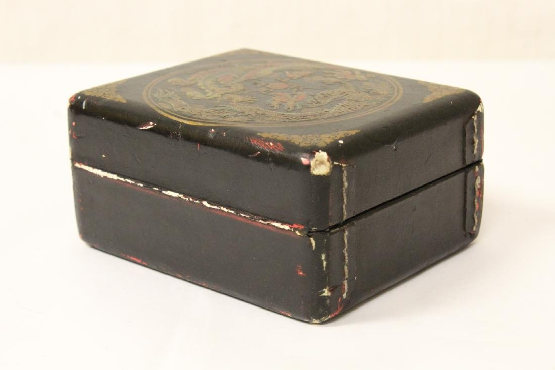 Paiguo game in lacquer box, and a stone inkwell - 12