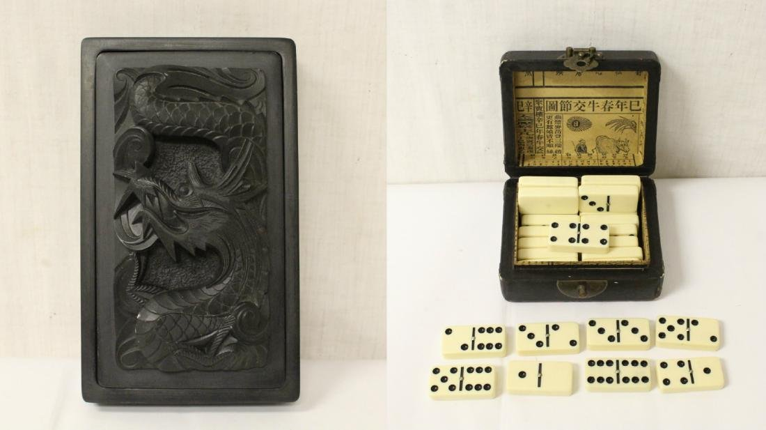 Paiguo game in lacquer box, and a stone inkwell