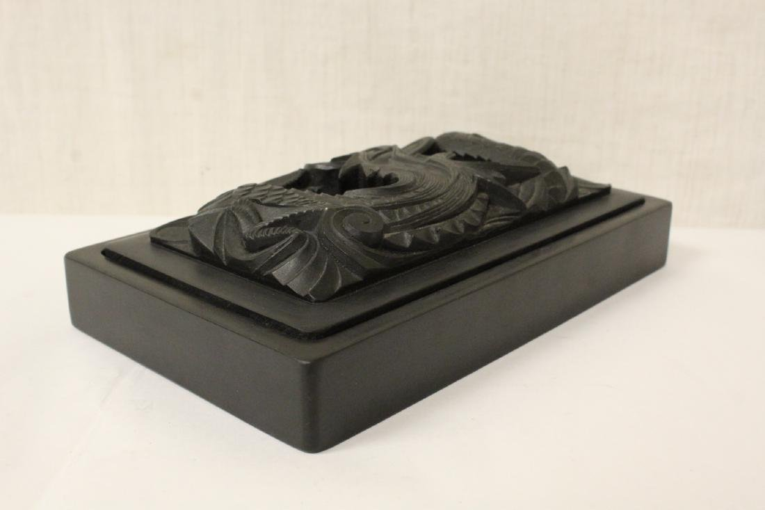 Paiguo game in lacquer box, and a stone inkwell - 3