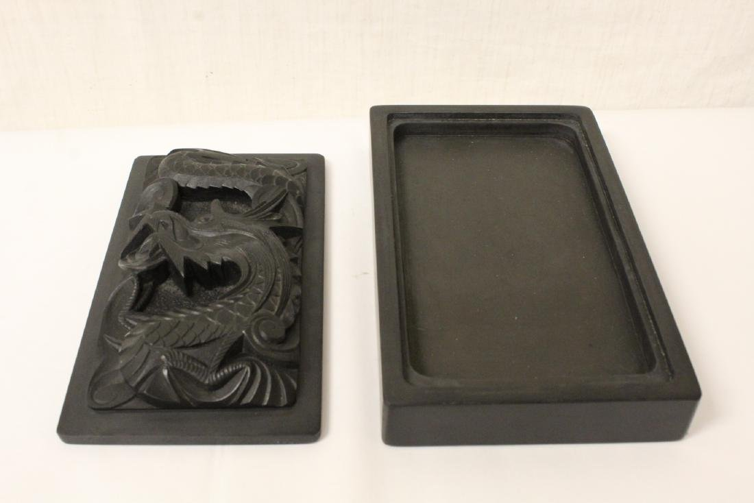 Paiguo game in lacquer box, and a stone inkwell - 4