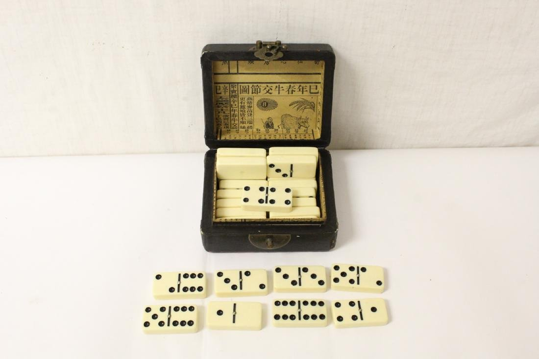 Paiguo game in lacquer box, and a stone inkwell - 8