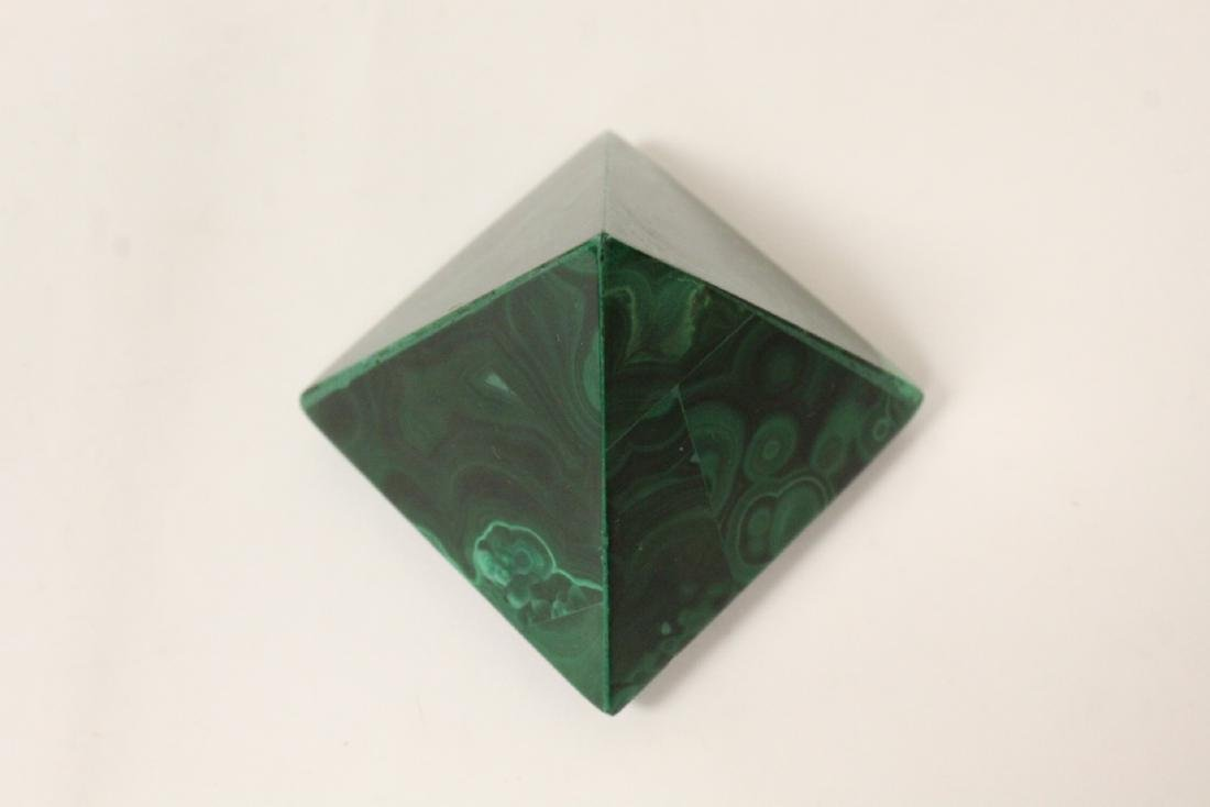3 pieces malachite cubes, one has chip on base - 10