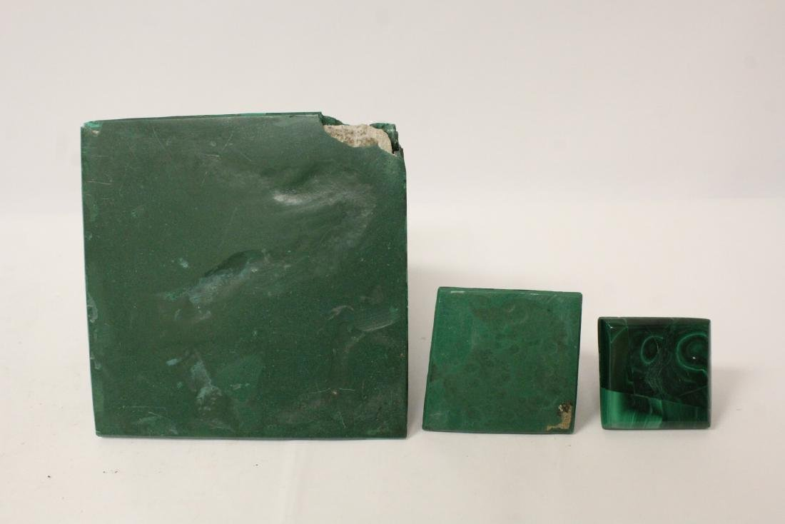 3 pieces malachite cubes, one has chip on base - 11