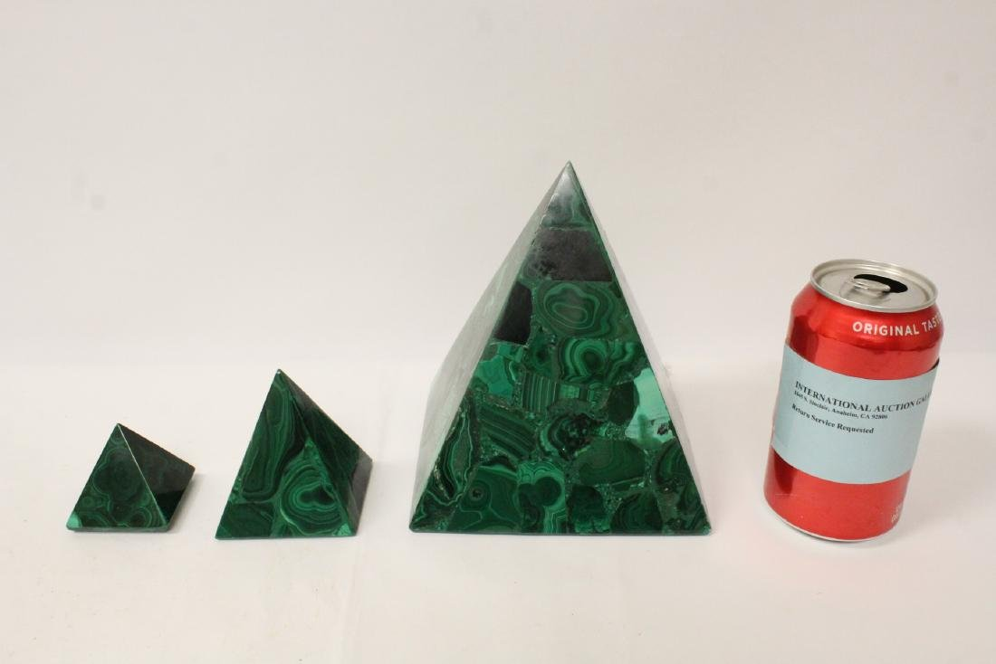 3 pieces malachite cubes, one has chip on base