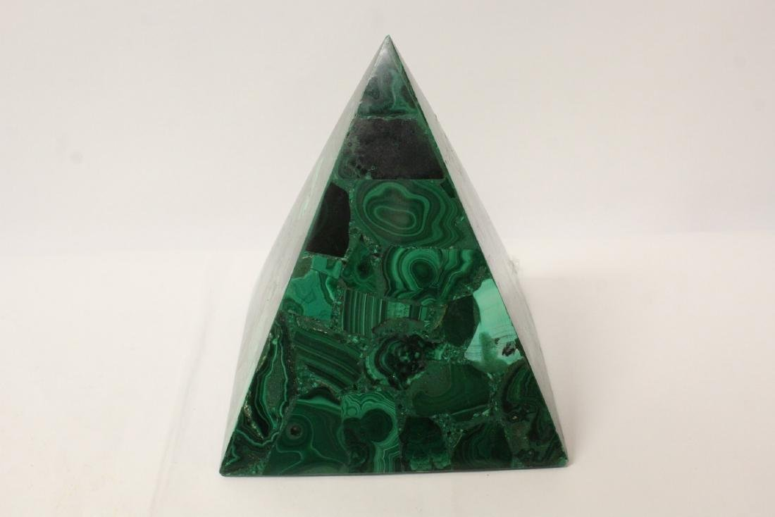 3 pieces malachite cubes, one has chip on base - 2