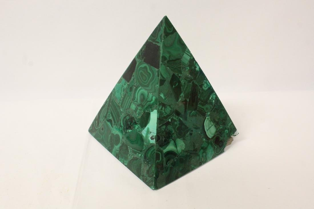 3 pieces malachite cubes, one has chip on base - 3
