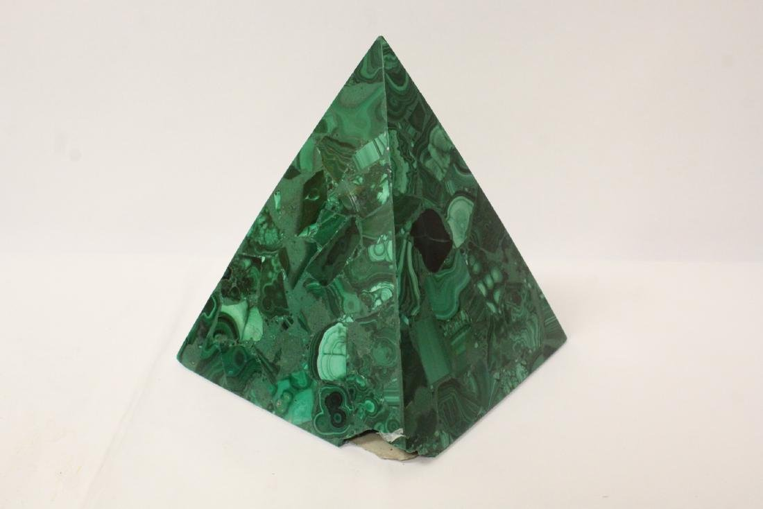 3 pieces malachite cubes, one has chip on base - 4