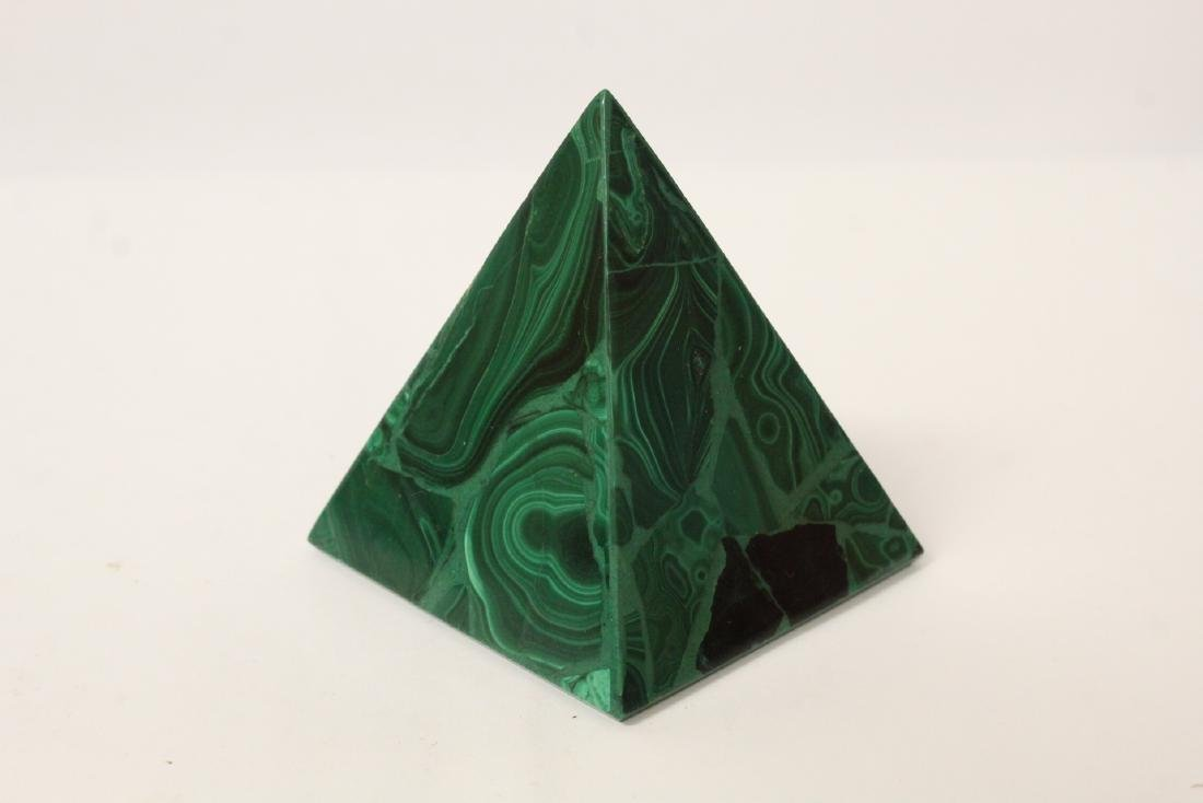 3 pieces malachite cubes, one has chip on base - 5