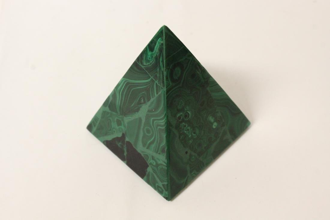 3 pieces malachite cubes, one has chip on base - 7