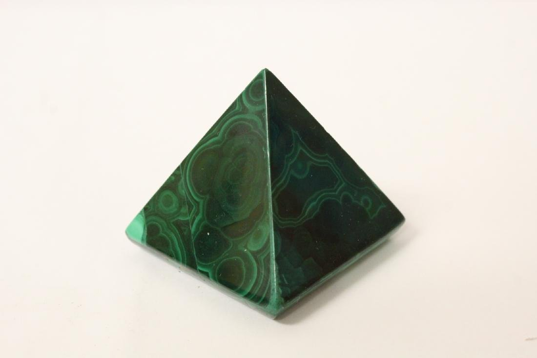 3 pieces malachite cubes, one has chip on base - 8