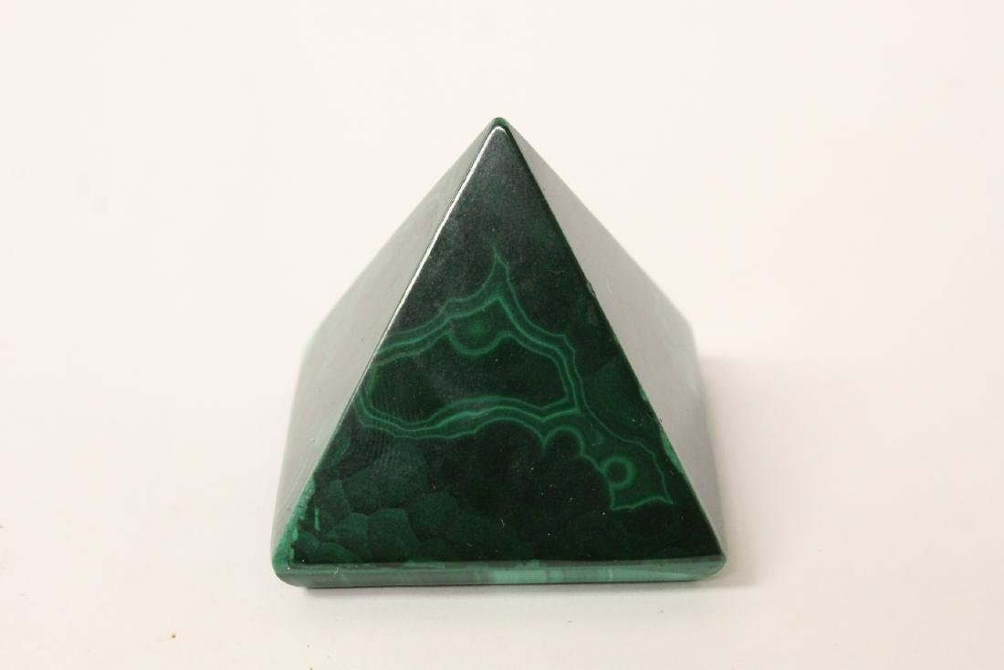 3 pieces malachite cubes, one has chip on base - 9