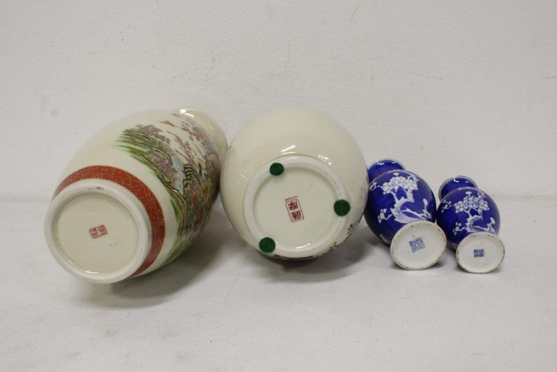 2 satsuma style vases, and 2 blue and white vases - 10