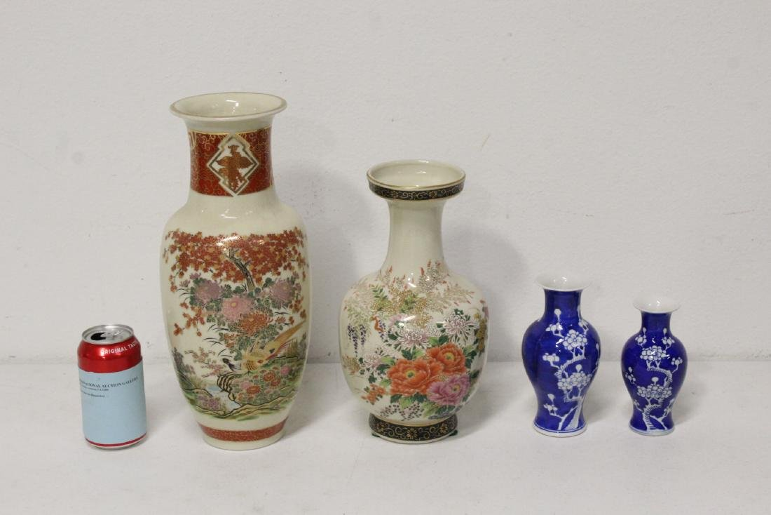 2 satsuma style vases, and 2 blue and white vases