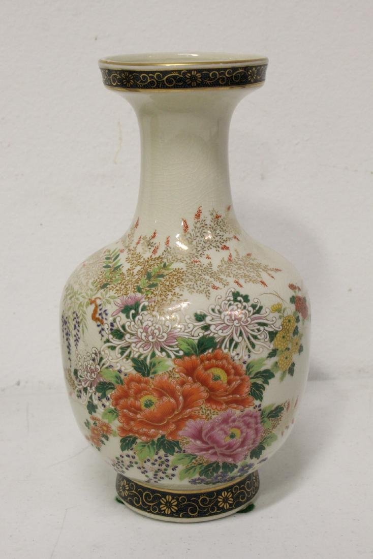 2 satsuma style vases, and 2 blue and white vases - 4