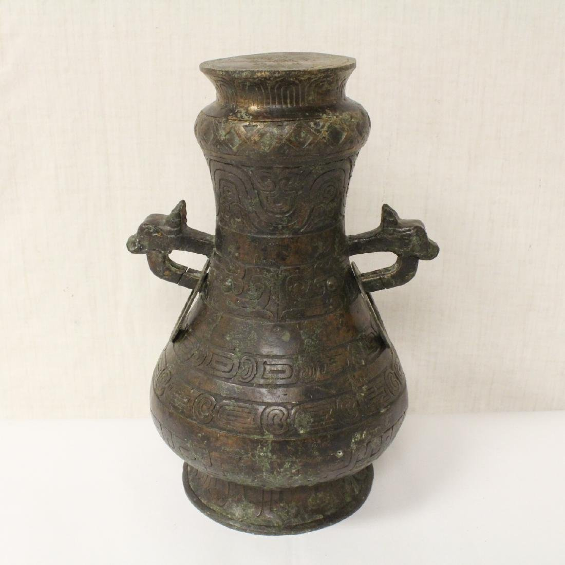 Chinese archaic style bronze covered jar - 6