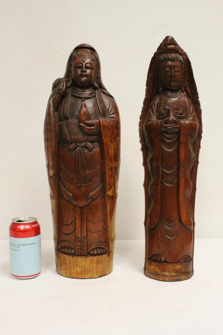 2 unusual Chinese bamboo carved deities