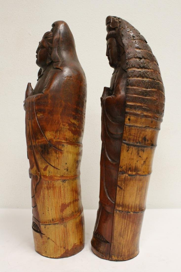 2 unusual Chinese bamboo carved deities - 2