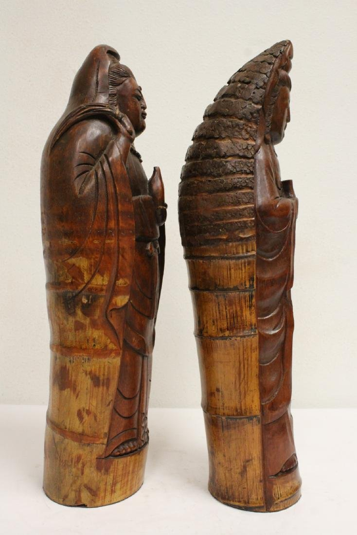 2 unusual Chinese bamboo carved deities - 3