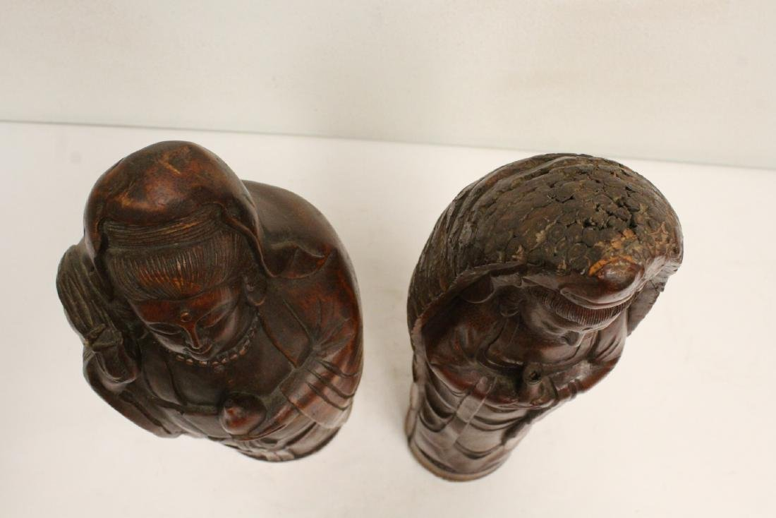 2 unusual Chinese bamboo carved deities - 4