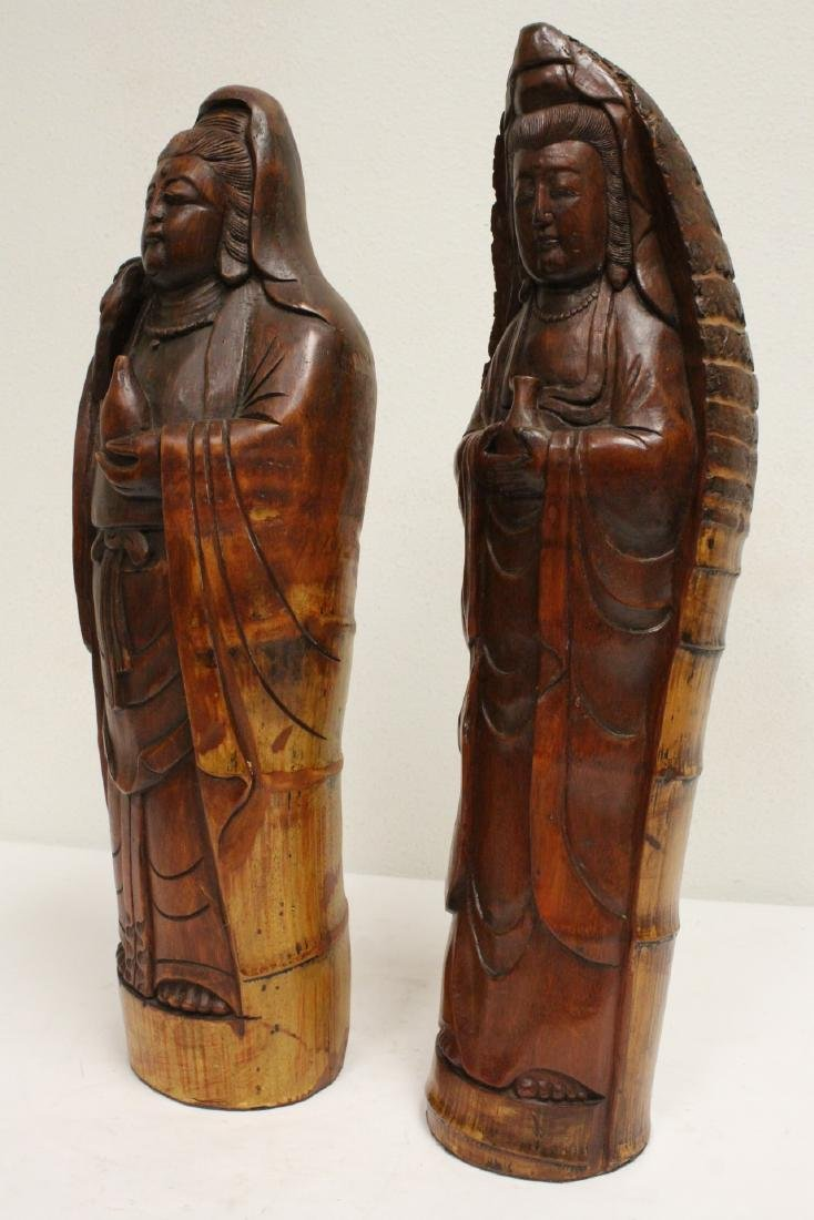 2 unusual Chinese bamboo carved deities - 5