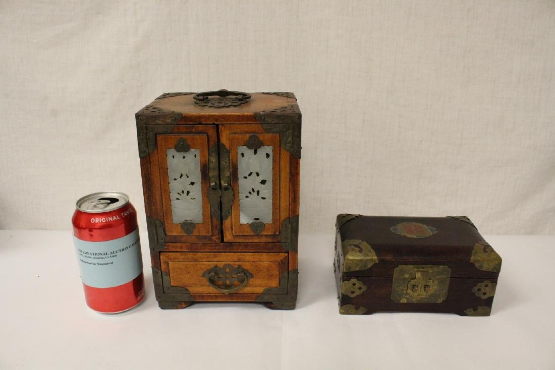 2 Chinese rosewood jewelry boxes